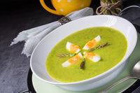 green wild garlic soup with egg