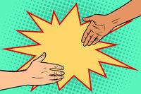 handshake African and Caucasian