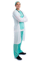 Arzt Doktor Beruf lachen stehen Ganzkörper Freisteller