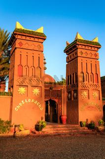 M'hamid, Morocco - February 22 2016: Chez le Pacha hotel outside view