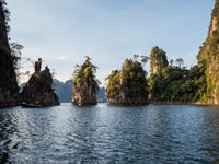 Beautiful view mountains and lake from boat in Ratchaprapa dam, Khoa Sok National Park, Surat Thani