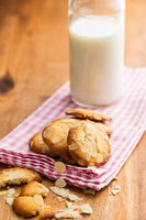 Sweet almond cookies with milk.