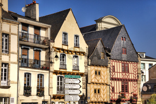 Colourful medieval buildings in the ancient city of Vannes