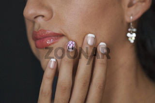 Close up Body Part Portrait of Young Beautiful Woman with Manicured Fingers