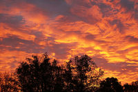flaming sky with orange clouds