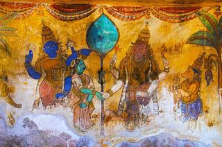 Colorful paintings on the inner wall of the Brihadishvara Temple, Thanjavur, Tamil Nadu, India