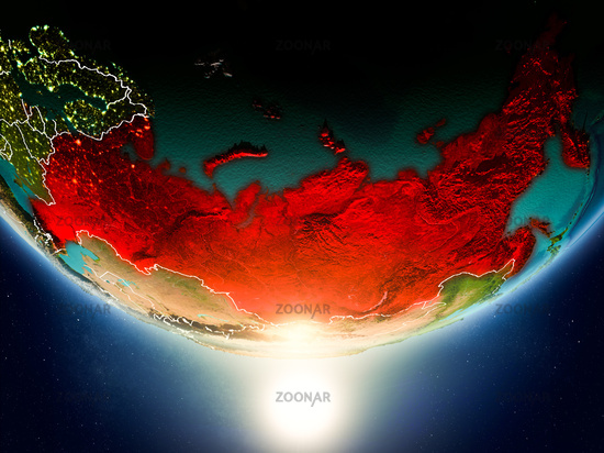 Russia with sun on planet Earth