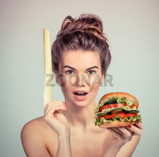 Woman with vegetable hamburger