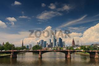 Big clouds over the skyline of Frankfurt