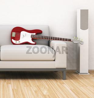 sofa with guitar
