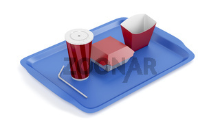 Soda cup and sandwich and french fries boxes