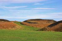 Skutustadagigar, pseudocraters in Iceland. Unique volcanic landscape.