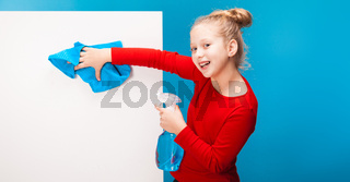adorable girl polishing the white background