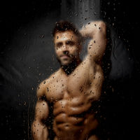 man in the shower