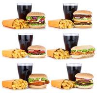 Hamburger Sammlung Collage Cheeseburger Menu Menü Menue mit Pommes Frites Cola Getränk Freisteller freigestellt