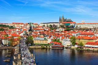 View of Mala Strana,  Charles bridge and Prague castle from Old