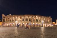 Verona Arena, Italy in a night in springtime