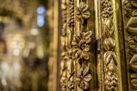 Catholic, Altar, Monastery, Romanesque, Interior of gothic cathedral in Spain, details of woodwork with gold leaf