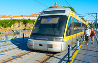 Porto Metro train on bridge