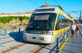 Porto Metro train on bridge