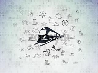 Tourism concept: Train on Digital Data Paper background