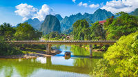 Amazing landscape of river among mountains. Laos. Panorama