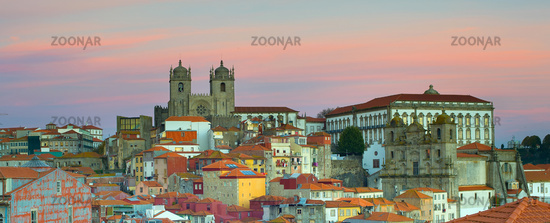 Panorama Porto at twilight, Portugal