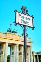 Pariser Platz sign in Berlin, Germany