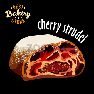 Realistic sweet dessert - cherry strudel vector. Baked bread product.