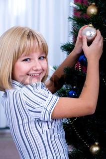 decorating of Christmas tree