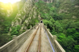 Blurred motion on the railway viaduct