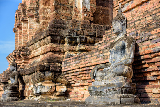 Ancient Buddha statue sitting posture