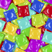 Multicolored condoms, top view