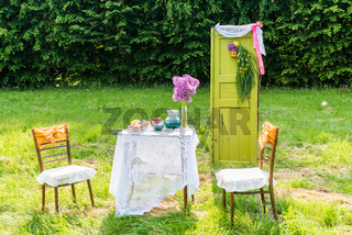 Decorated door table chairs