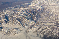 Mongolia aerial view of mountains covered with snow in the spring stock footage video
