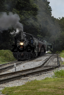 Steam Engine with Passenger Train Pulling into Station pt 2