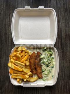 german takeaway food schnitzel fries broccoli