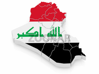 Map of Iraq in Iraqi flag colors. 3d