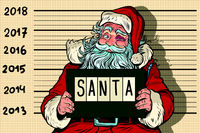 2018 new year, photo funny Santa Claus under arrest