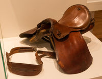 Old brown leather saddle