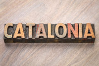 Catalonia word abstract in wood type