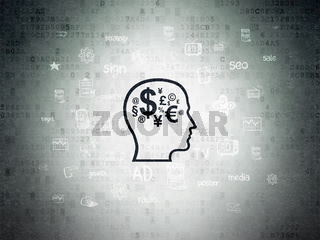 Advertising concept: Head With Finance Symbol on Digital Data Paper background