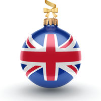 3D rendering Christmas ball with the flag of Great Britain