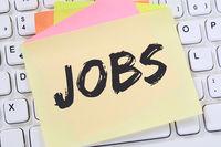 Jobs Job Arbeit Arbeitsstelle Jobsuche Notizzettel Büro Business Konzept