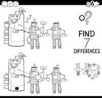 differences with robot characters color book