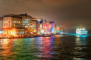 Night view of Galata quarter on Bosporus in Istanbul, Turkey