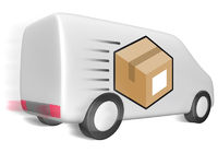 Lieferwagen mit Paket