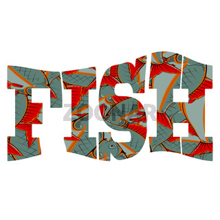 Fish Text Isolatted