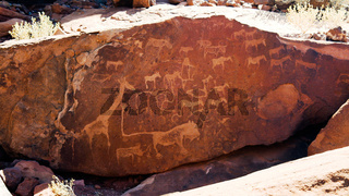Prehistoric petroglyphs at Twyfelfontein archaeological site, Namibia
