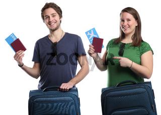 Junge Leute mit Ticket Flugticket Reise reisen verreisen Urlaub fliegen Freisteller
